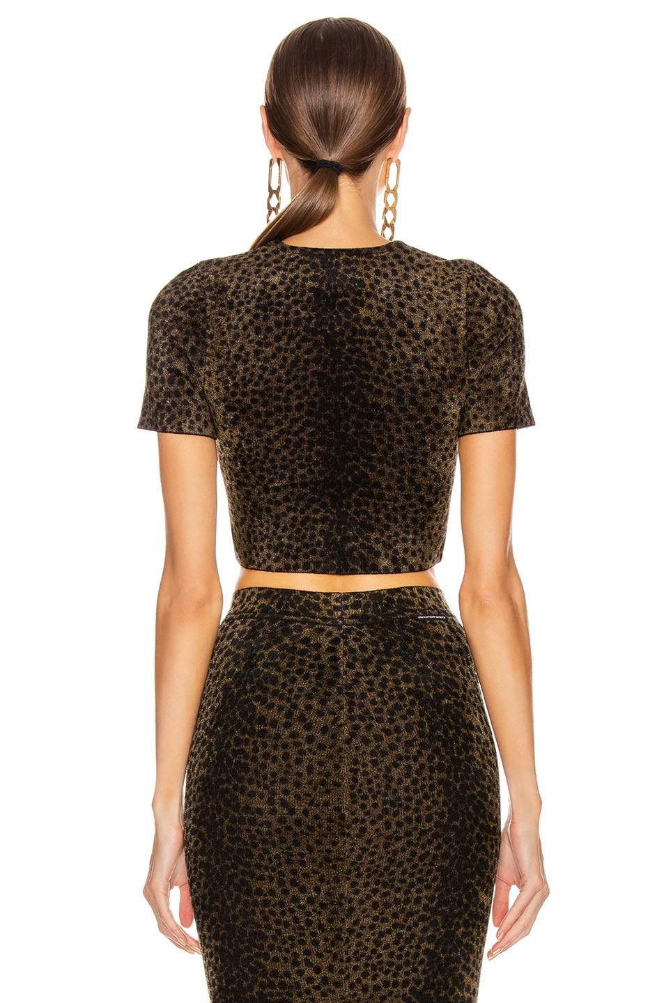 Image 4 of Alexander Wang Crew Crop Tee in Black & Gold