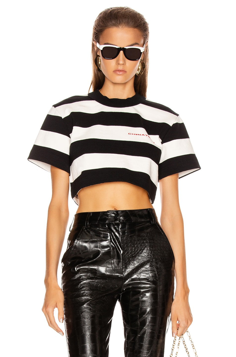 Image 1 of Alexander Wang Chynatown Stripped Cropped Tee in Black & White