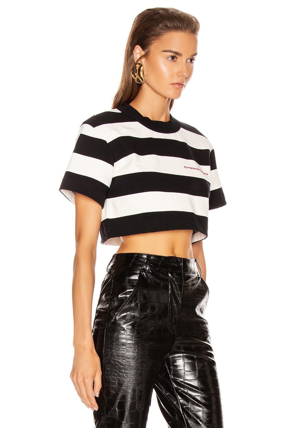 Image 2 of Alexander Wang Chynatown Stripped Cropped Tee in Black & White