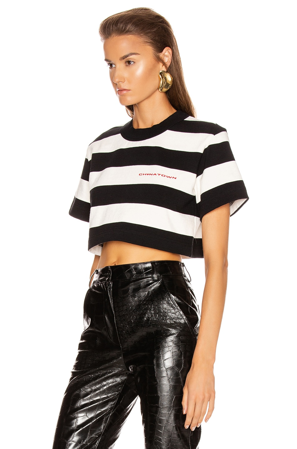 Image 3 of Alexander Wang Chynatown Stripped Cropped Tee in Black & White