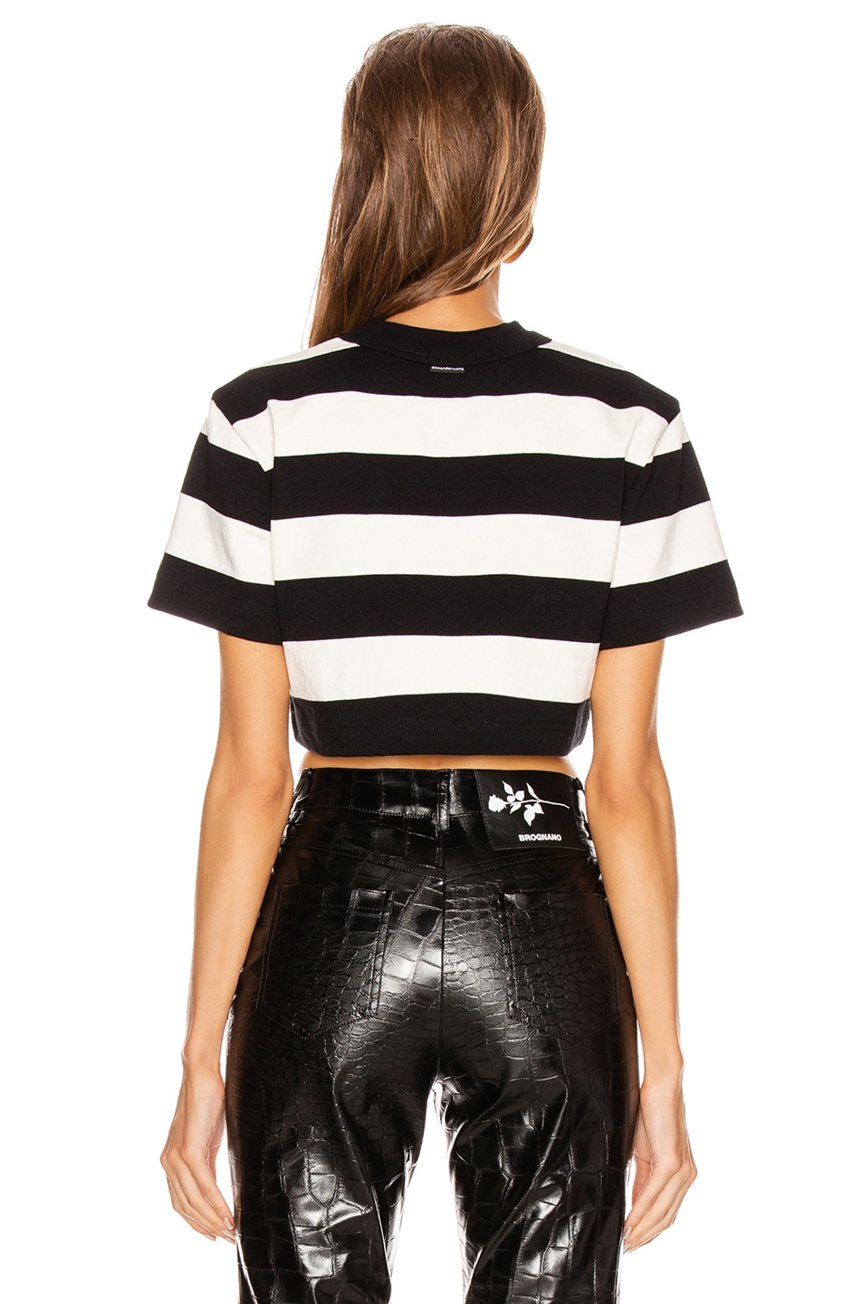 Image 4 of Alexander Wang Chynatown Stripped Cropped Tee in Black & White