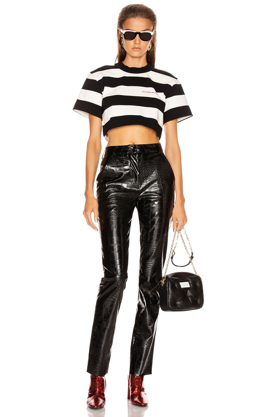 Image 5 of Alexander Wang Chynatown Stripped Cropped Tee in Black & White