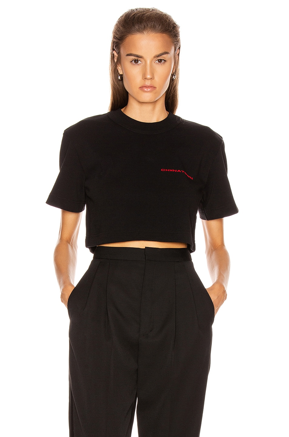 Image 1 of Alexander Wang Chynatown Cropped Tee in Black