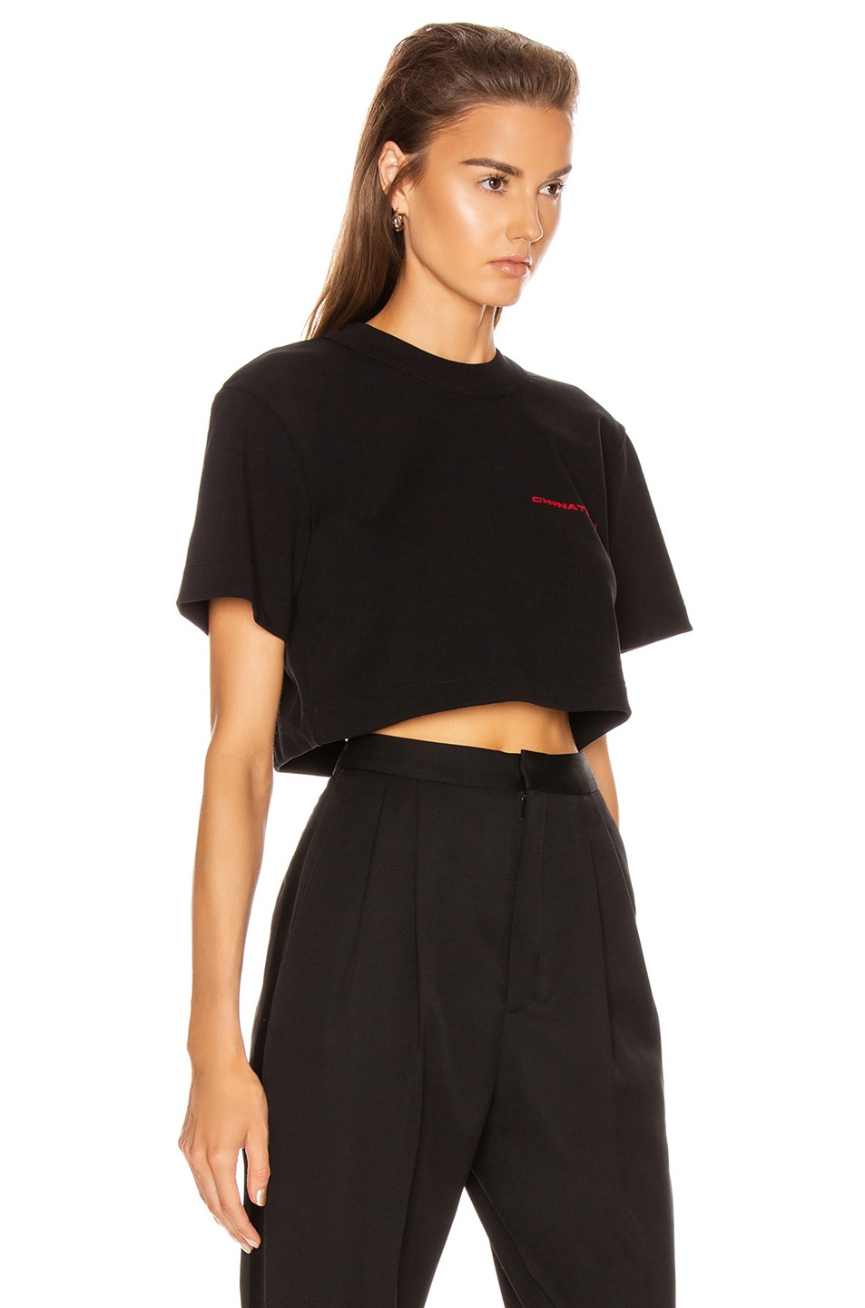 Image 2 of Alexander Wang Chynatown Cropped Tee in Black