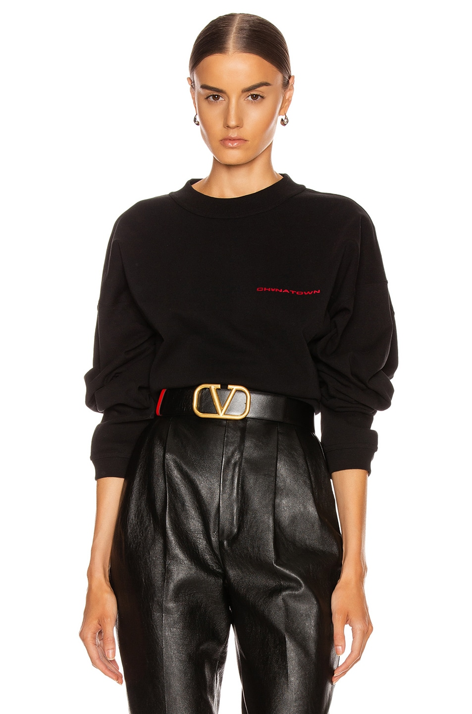 Image 1 of Alexander Wang Chynatown Chain Long Sleeve Top in Black