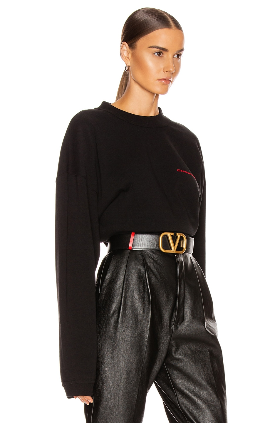 Image 2 of Alexander Wang Chynatown Chain Long Sleeve Top in Black