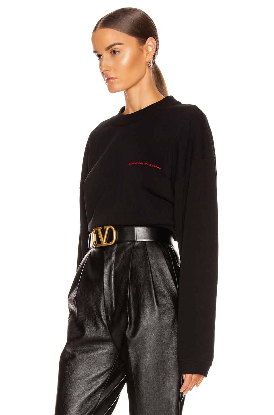 Image 3 of Alexander Wang Chynatown Chain Long Sleeve Top in Black