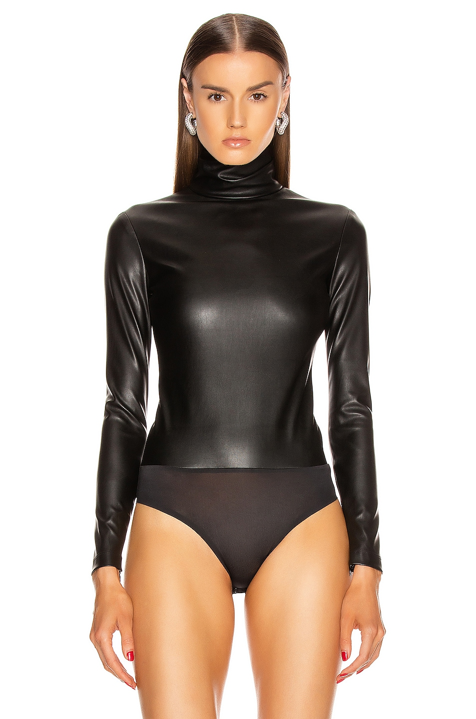 Image 2 of Alexander Wang Long Sleeve Turtleneck Bodysuit in Black