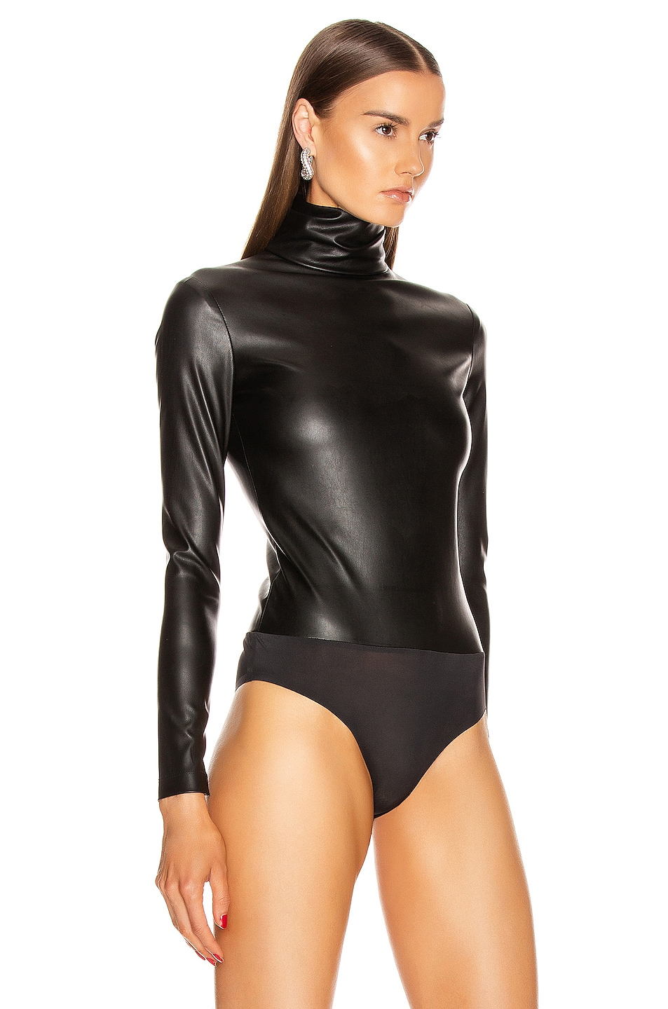 Image 3 of Alexander Wang Long Sleeve Turtleneck Bodysuit in Black