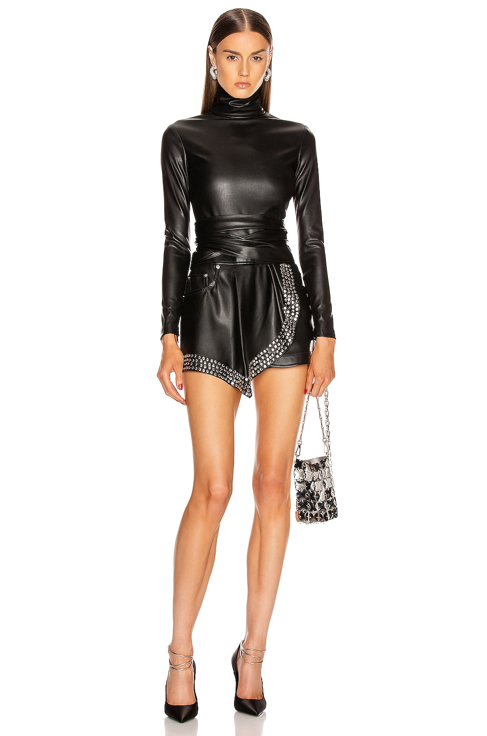 Image 5 of Alexander Wang Long Sleeve Turtleneck Bodysuit in Black