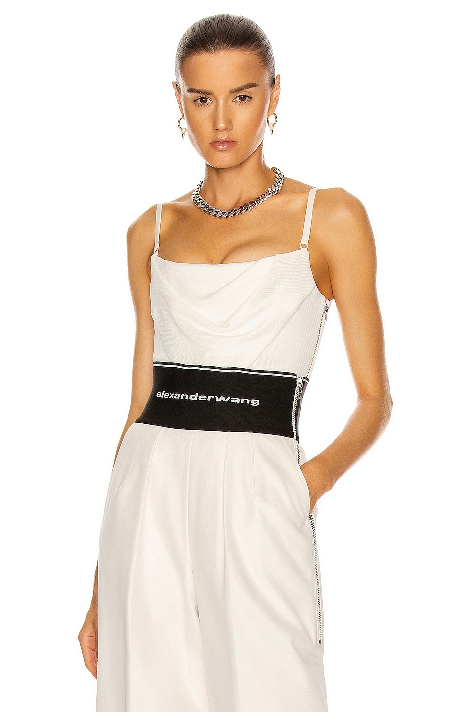 Image 1 of Alexander Wang Draped Cami Corset Top in Ivory