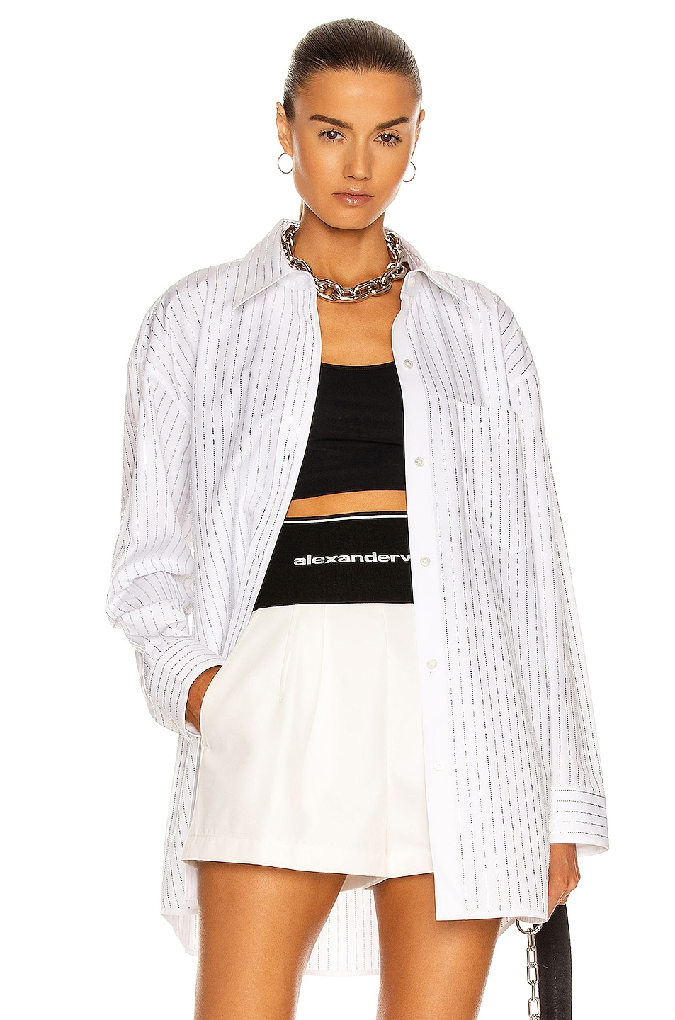 Image 1 of Alexander Wang Crystal Button Down Shirt in White