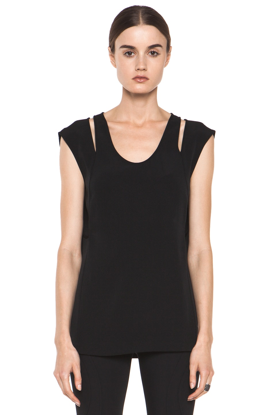 Image 1 of Alexander Wang Double Back Tank in Black