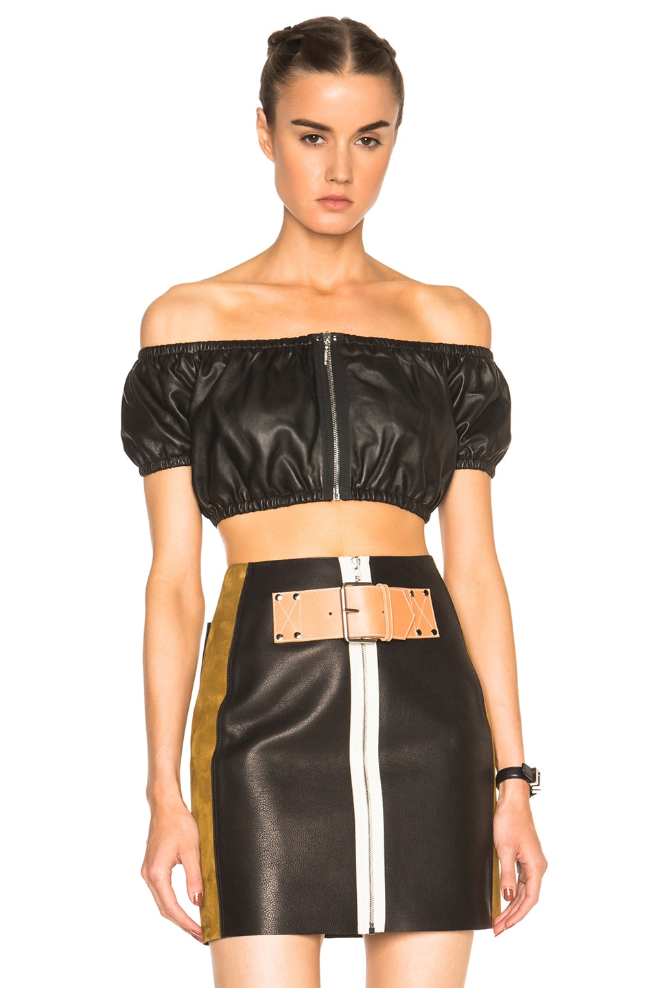 Image 1 of Alexander Wang Off The Shoulder Crop Top in Onyx