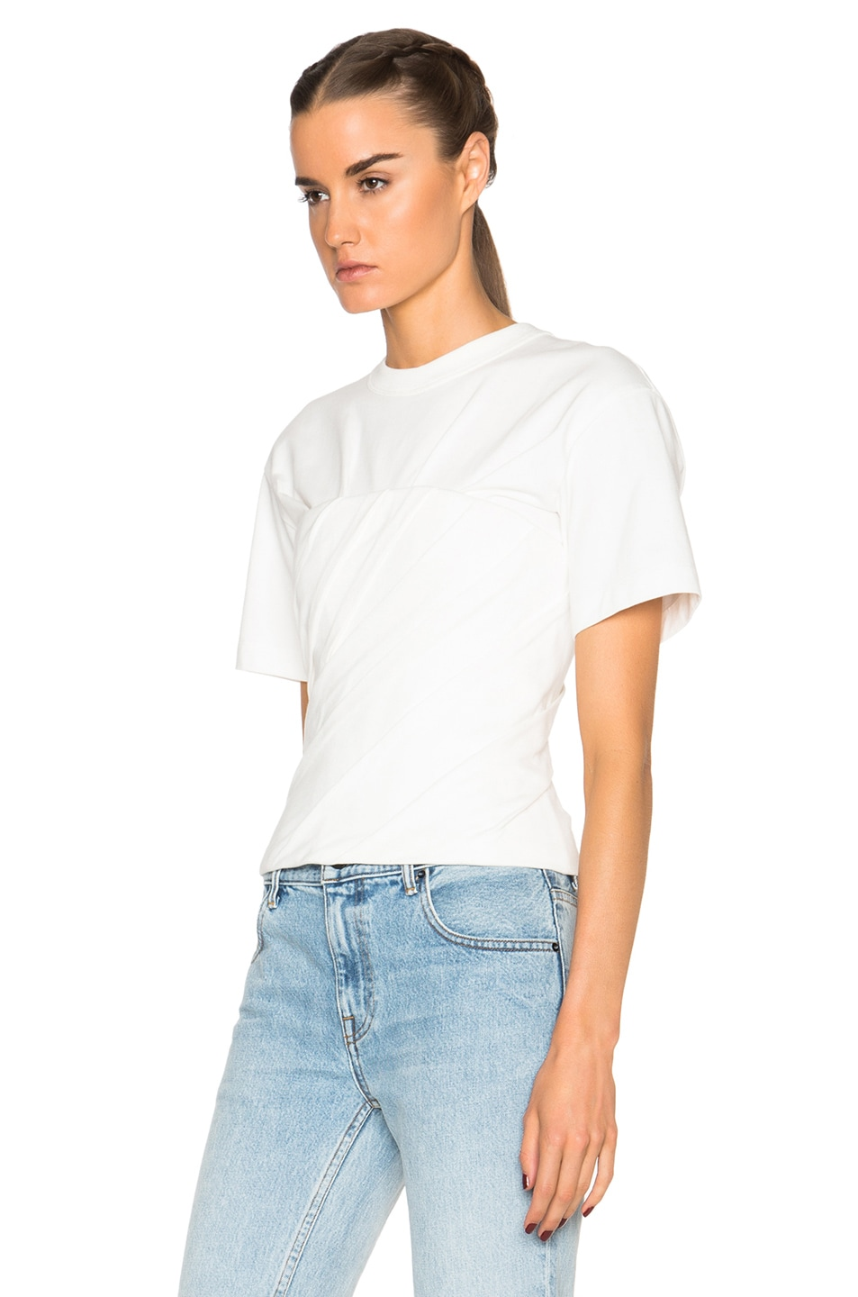 Image 2 of Alexander Wang Draped Bustier Tee in Silica