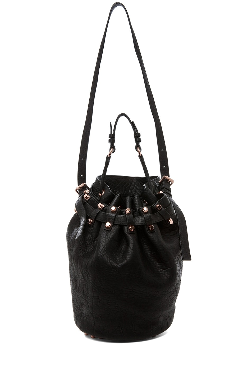 Image 6 of Alexander Wang Diego Bucket Bag with Rose Gold in Black