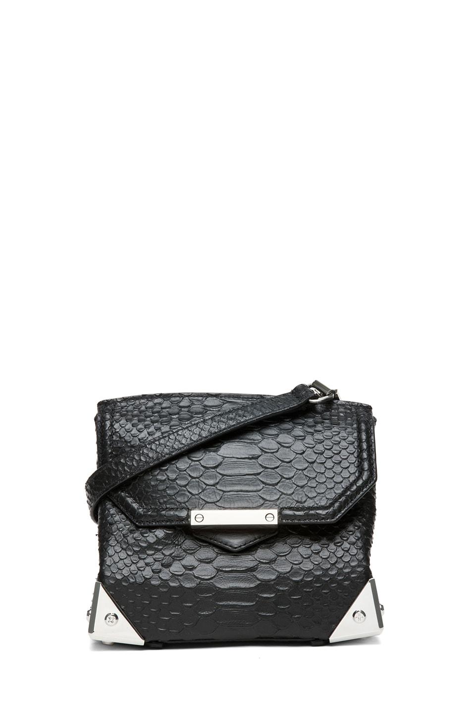 Image 1 of Alexander Wang Marion Python Embossed Shoulder Bag with Rhodium in Black
