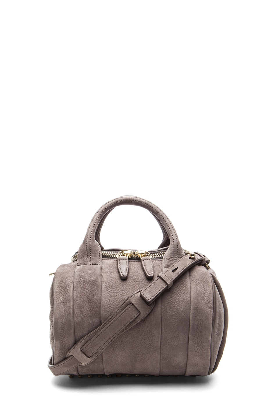 Image 1 of Alexander Wang Rockie Nubuck Bag with Pale Gold in Elephant