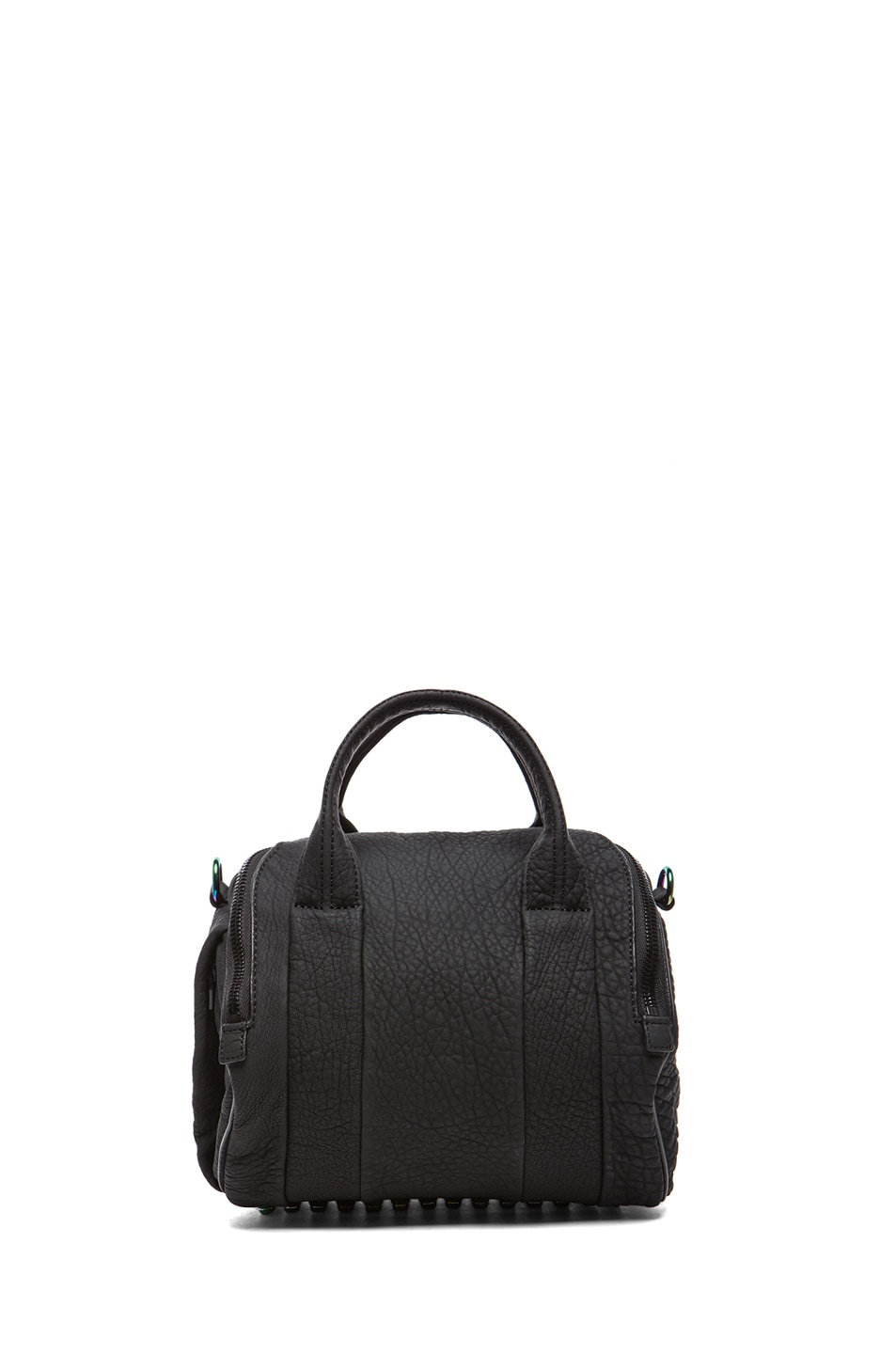 Image 2 of Alexander Wang Rockie Rubberized Pebble Lamb with Iridescent Hardware in Black
