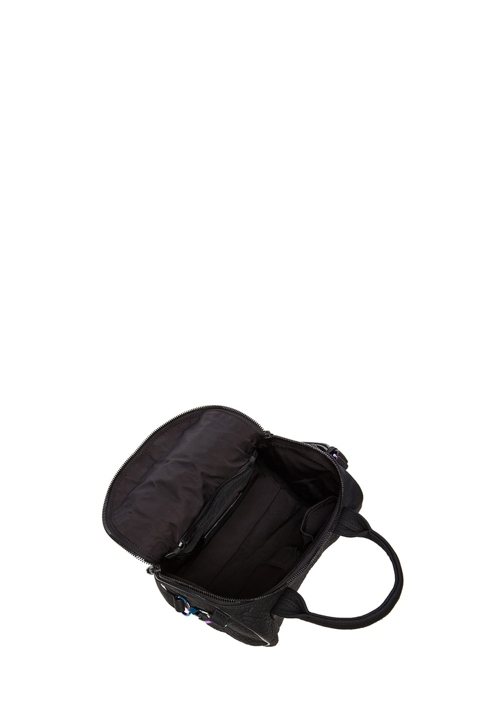 Image 4 of Alexander Wang Rockie Rubberized Pebble Lamb with Iridescent Hardware in Black