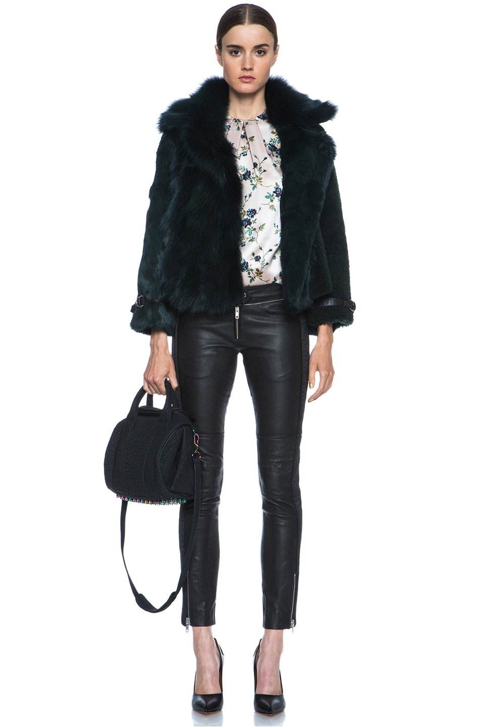 Image 7 of Alexander Wang Rockie Rubberized Pebble Lamb with Iridescent Hardware in Black