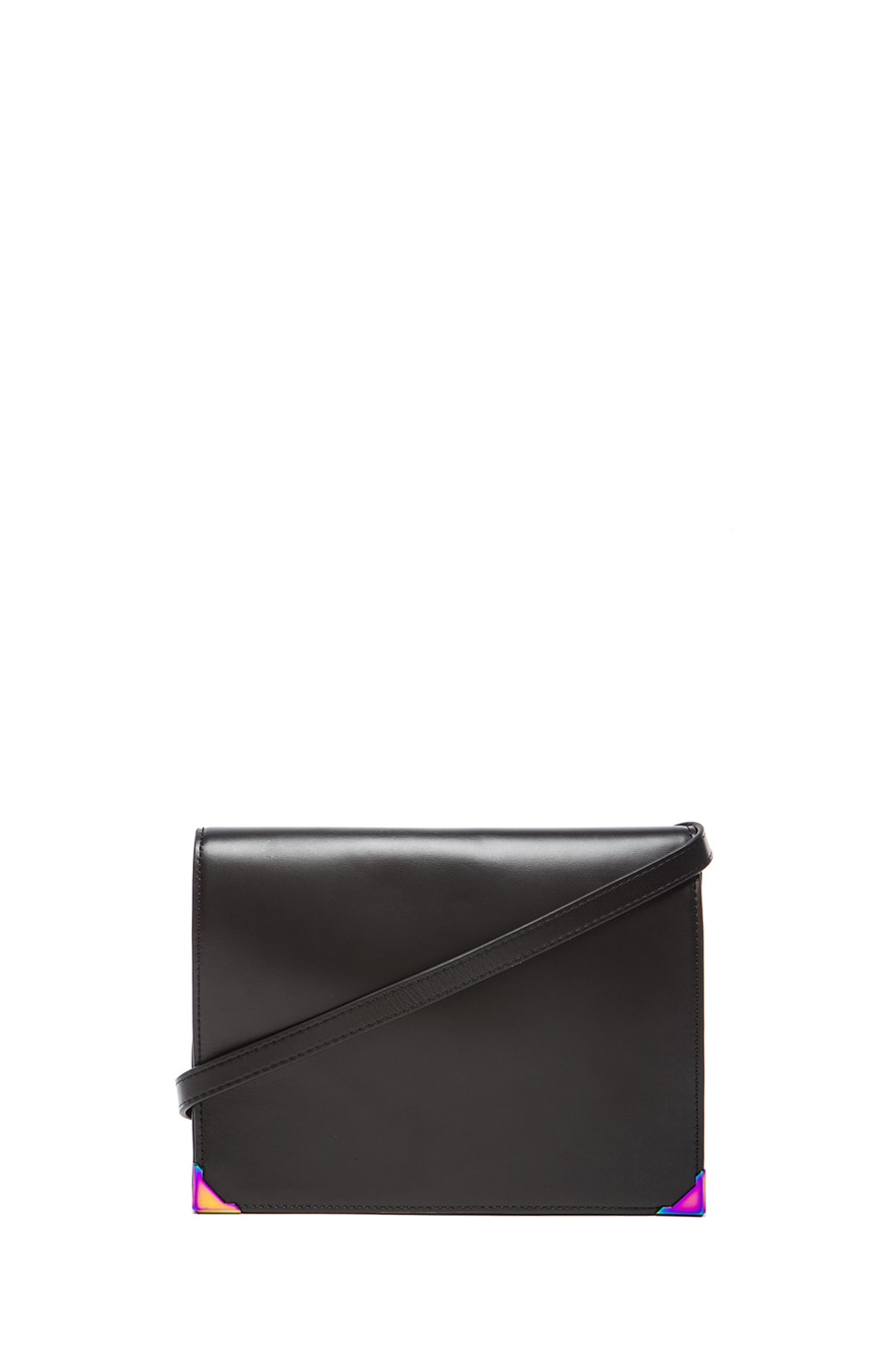 Image 1 of Alexander Wang Prisma Skeletal Double Envelope with Iridescent Hardware in Black