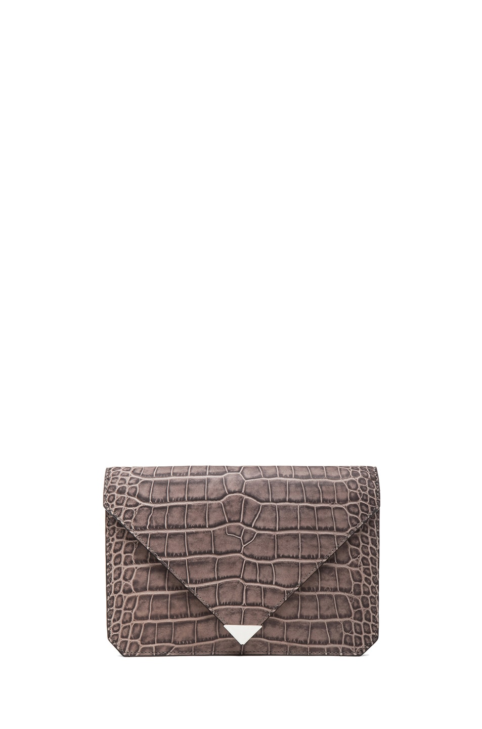 Image 1 of Alexander Wang Prisma Croc Envelope in Oyster