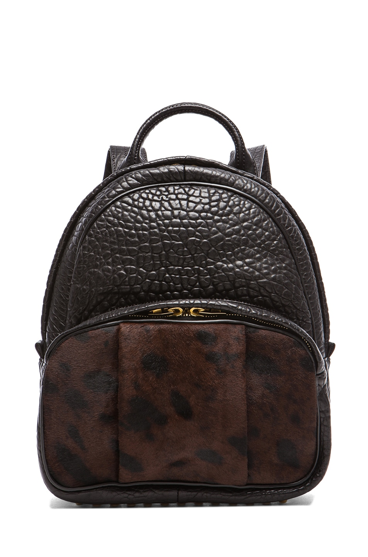 Image 1 of Alexander Wang Printed Calfhair Dumbo Backpack in Leopard Haze
