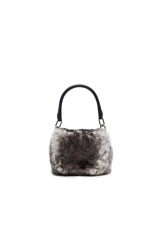 Image 1 of Alexander Wang Mini Rabbit Fur Rex Bag in Grey & White