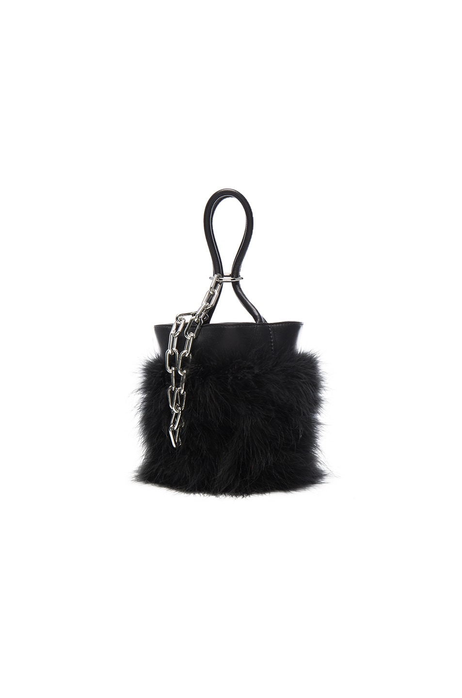 Image 1 of Alexander Wang Roxy Mini Feather Bucket Bag in Black