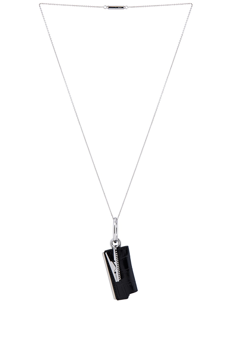 Image 2 of Alexander Wang Lightercase Charm Chain Necklace in Black