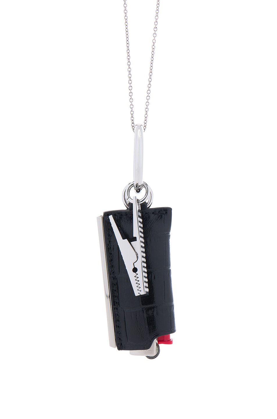 Image 4 of Alexander Wang Lightercase Charm Chain Necklace in Black