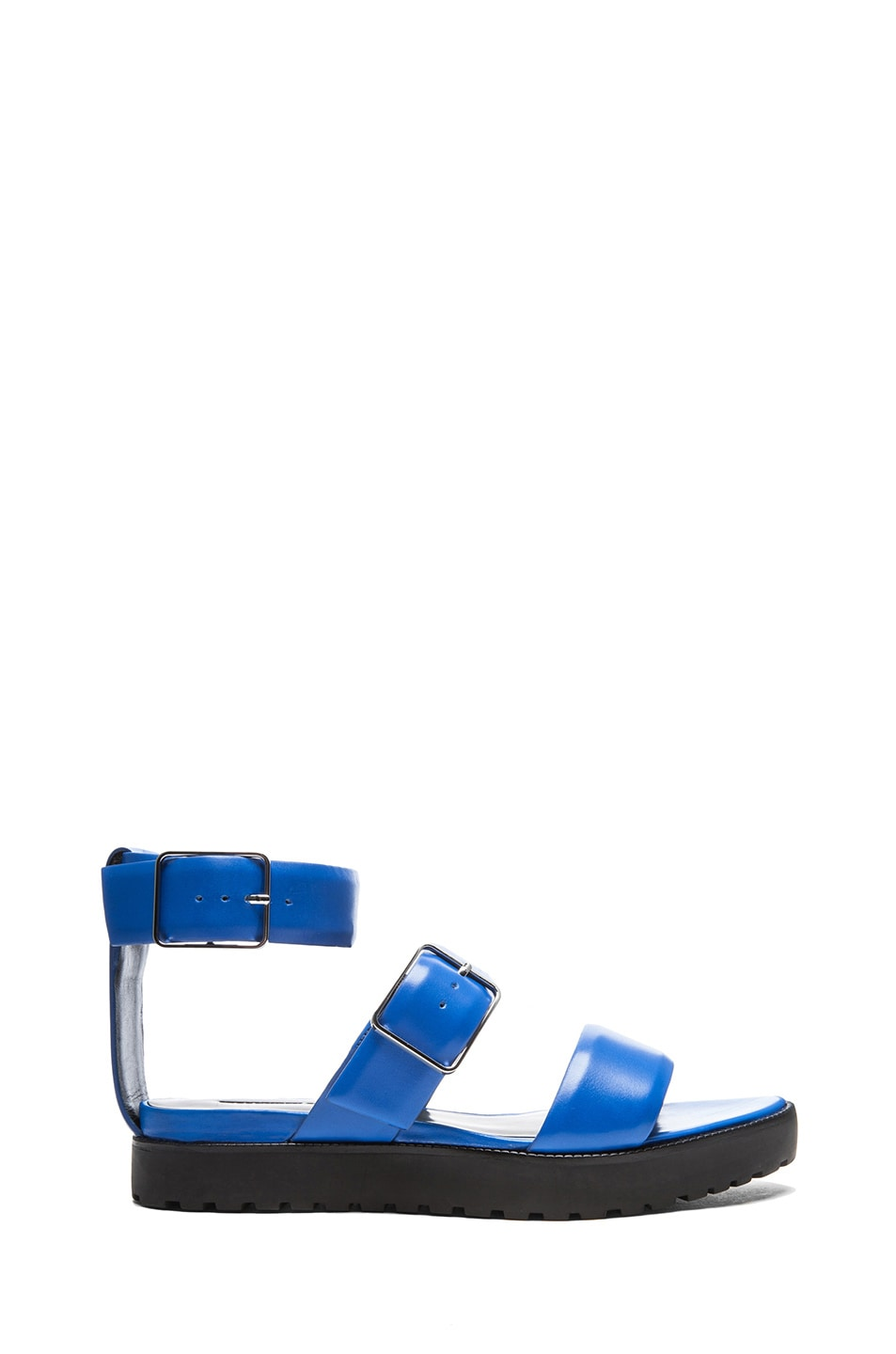 Image 1 of Alexander Wang Kira Leather Ankle Strap Sandals in Curacao
