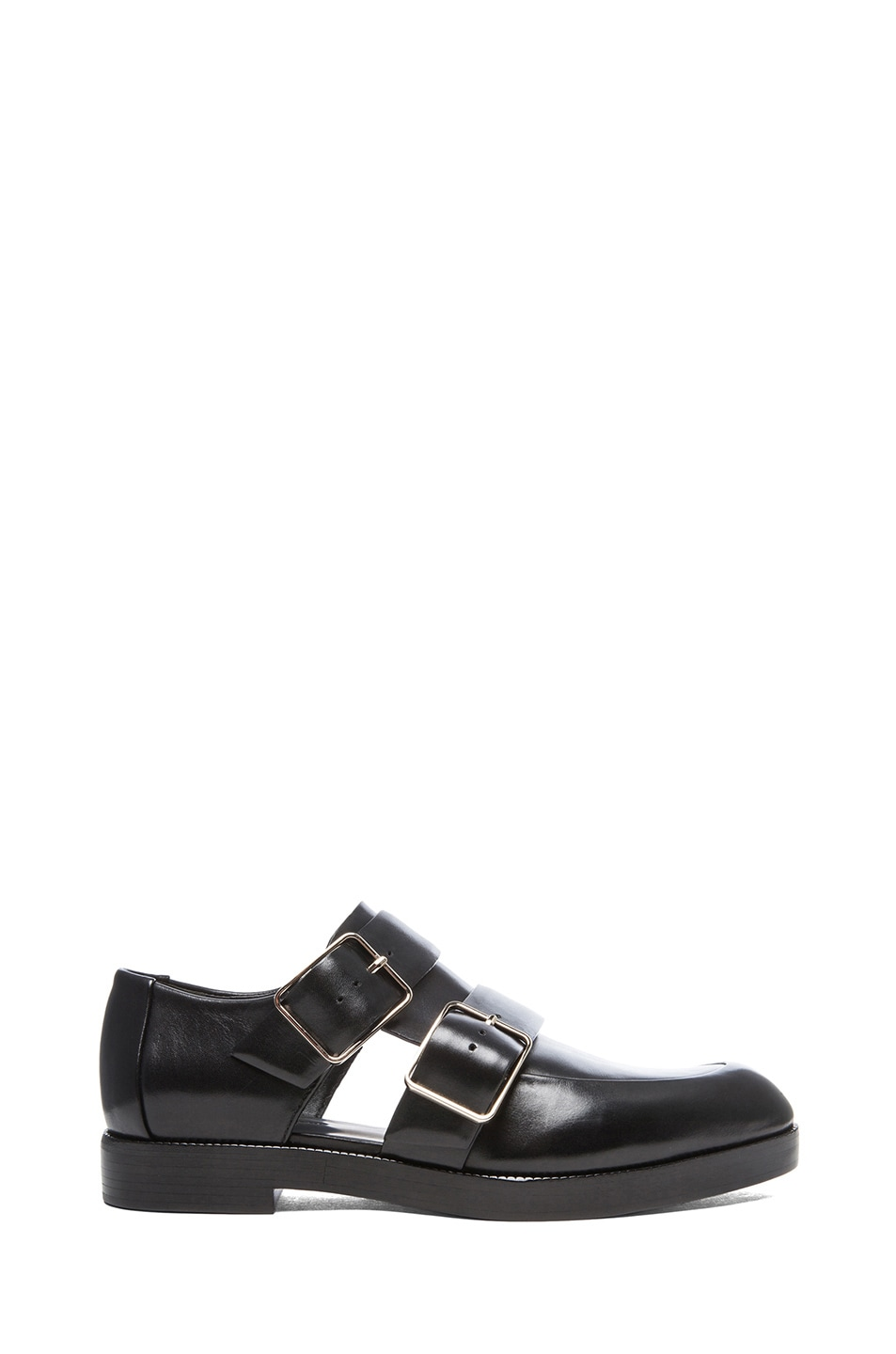 Image 1 of Alexander Wang Jacquetta Leather Monk Strap Oxfords in Black