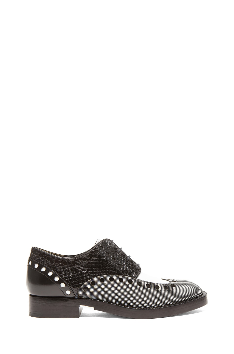 Image 1 of Alexander Wang Nathan Python Embossed & Textured Leather Oxfords in Black & White