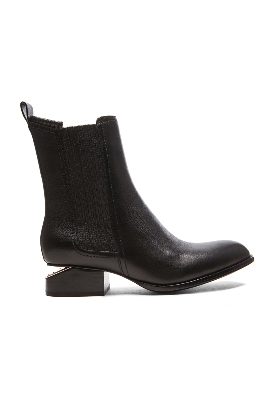 Image 1 of Alexander Wang Anouck Chelsea Leather Boots with Rose Gold Hardware in Black