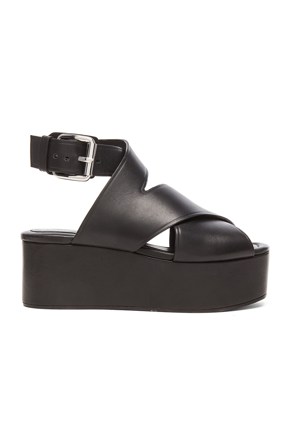 Image 1 of Alexander Wang Rudy Leather Platform Sandals in Black