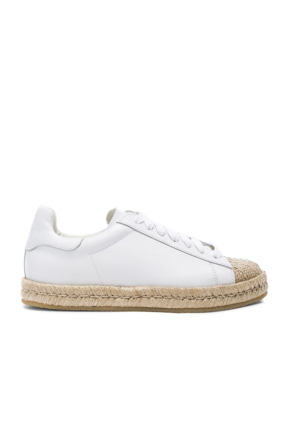 Image 1 of Alexander Wang Leather Rian Espadrilles in Optic White