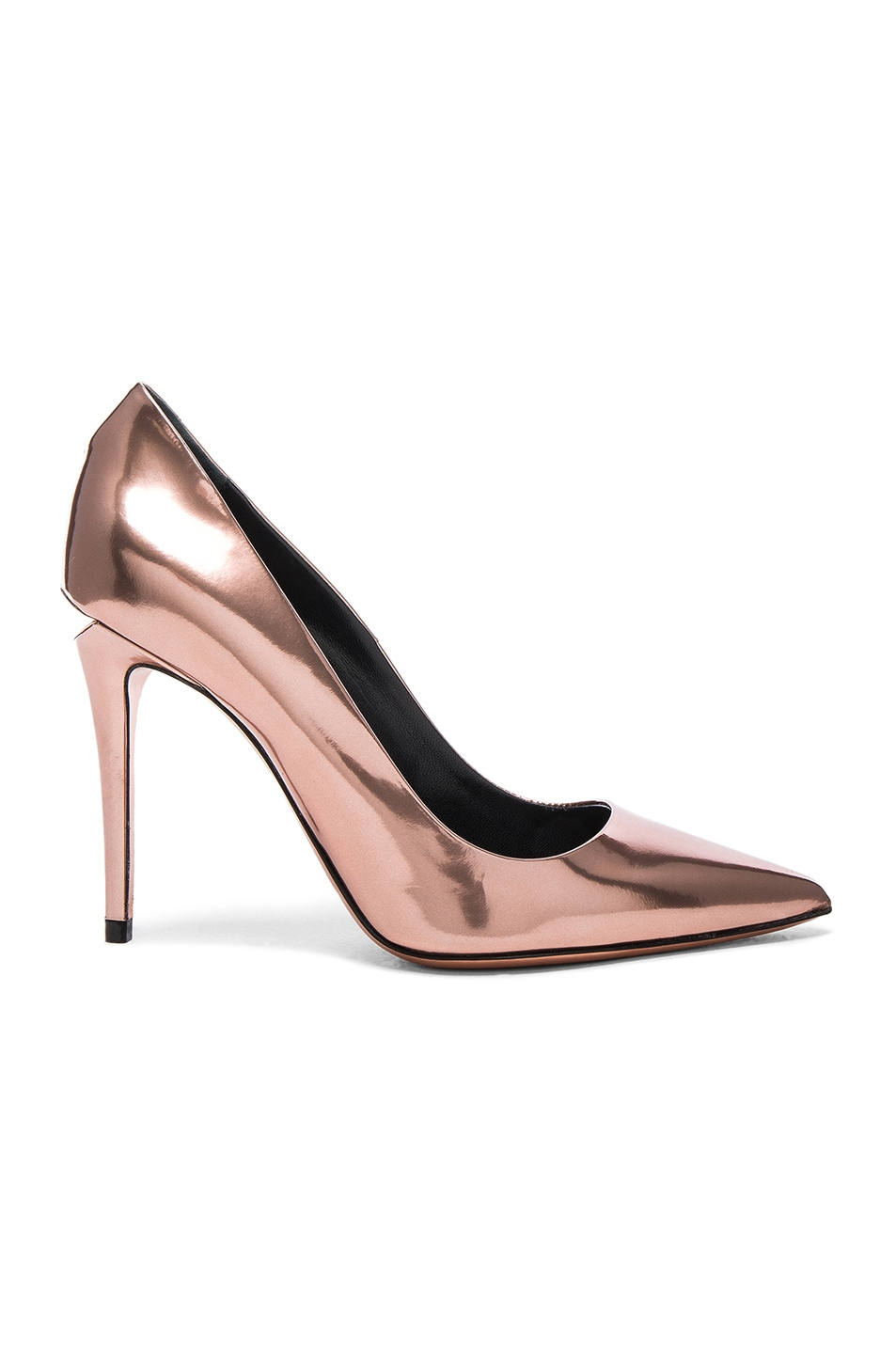 Image 1 of Alexander Wang Leather Tia Mirror Heels in Rose Gold