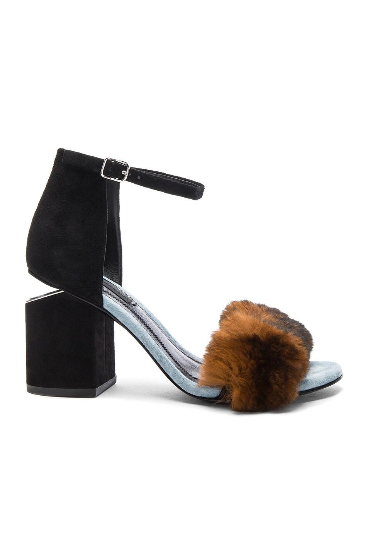 Image 1 of Alexander Wang Suede & Rabbit Fur Abby Heels in Ochre