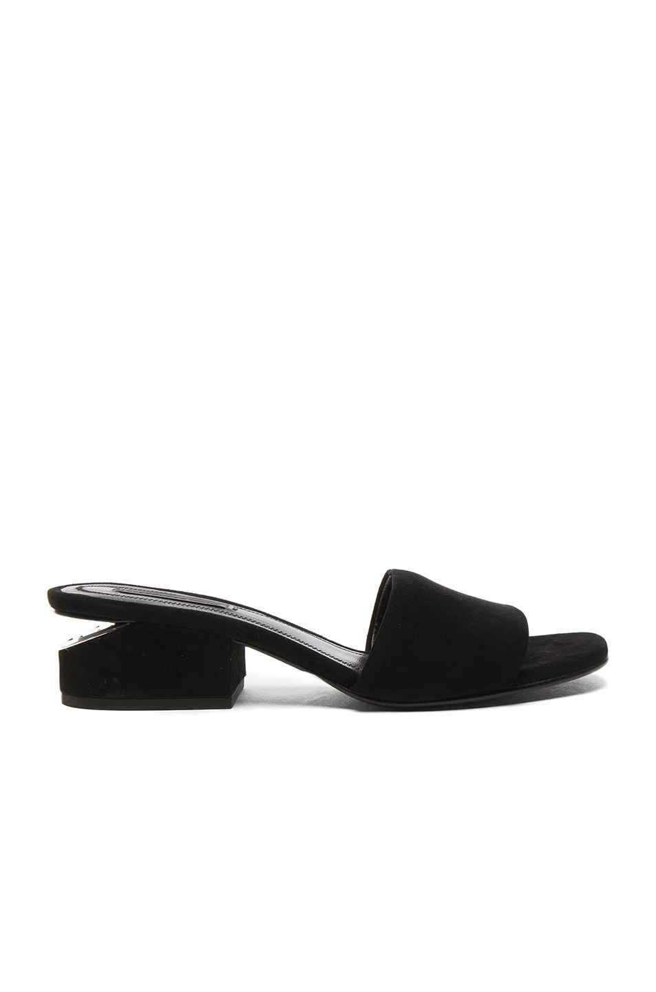 Image 1 of Alexander Wang Suede Lou Slides in Black