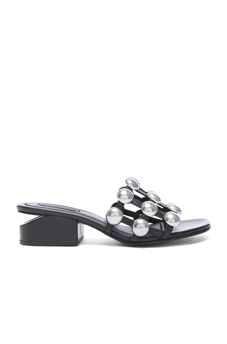 Image 1 of Alexander Wang Dome Stud Leather Lou Slides in Black