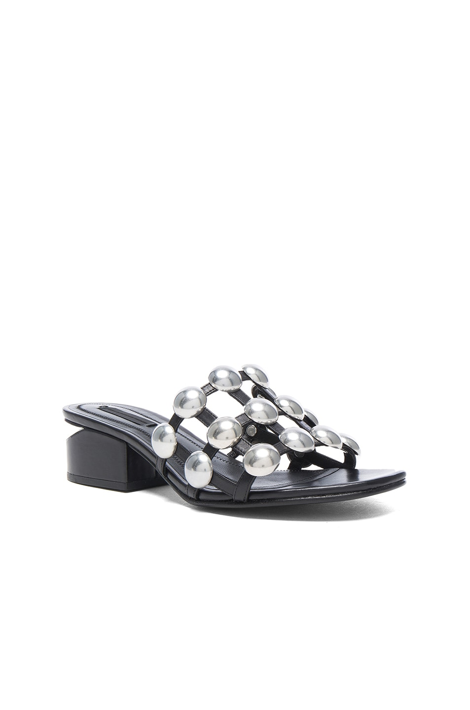 Image 2 of Alexander Wang Dome Stud Leather Lou Slides in Black