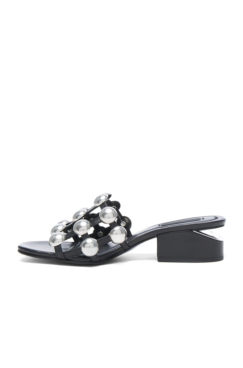 Image 5 of Alexander Wang Dome Stud Leather Lou Slides in Black