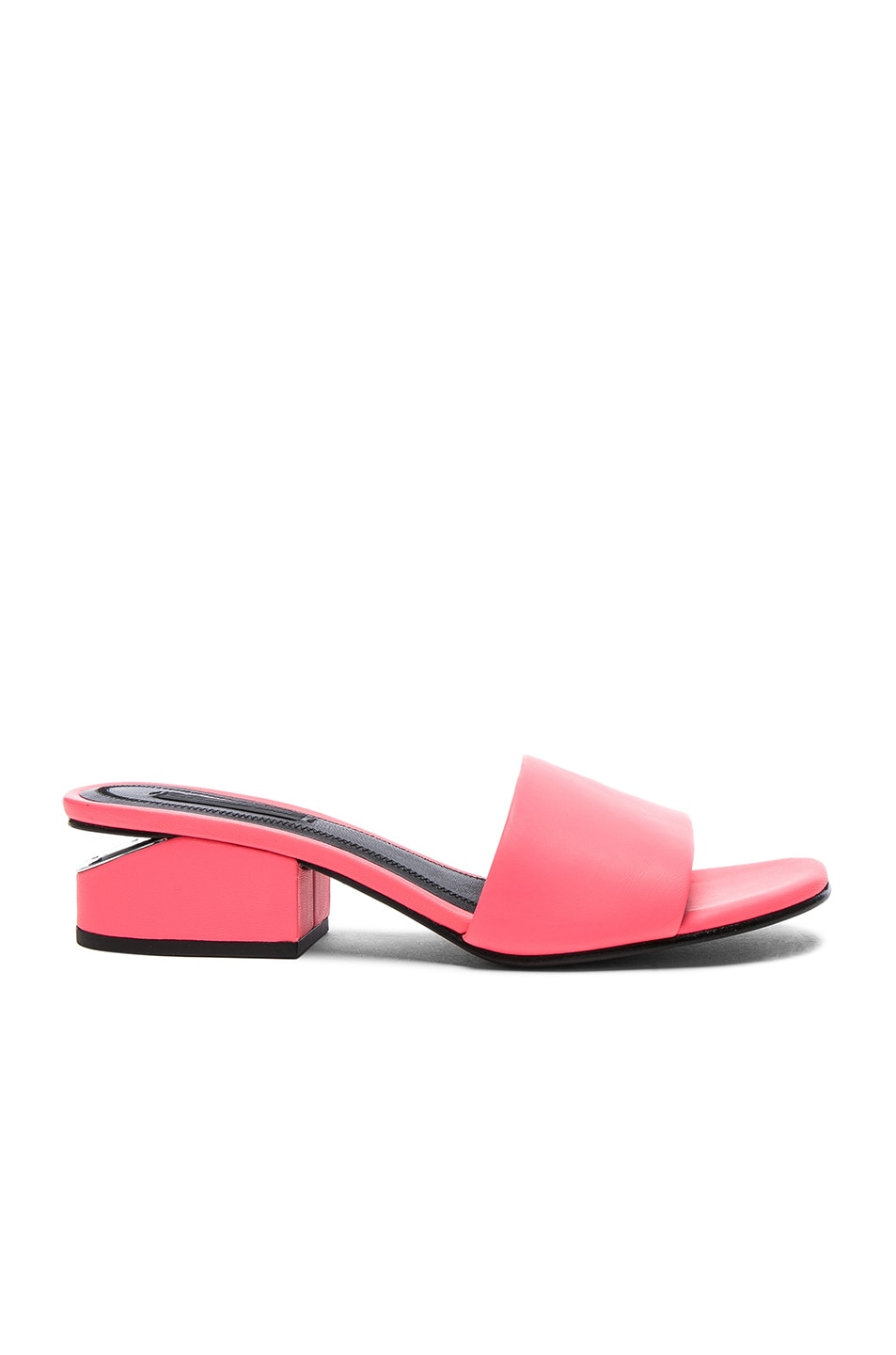 Image 1 of Alexander Wang Leather Lou Slides in Fluo Coral