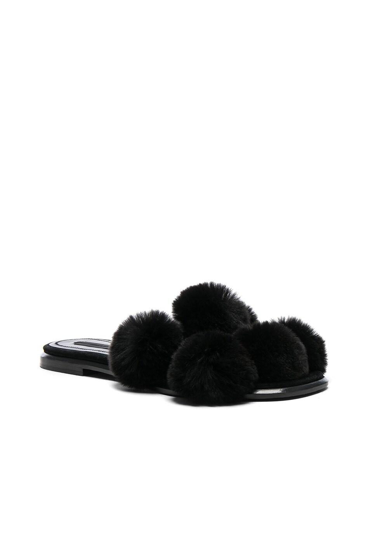 Image 2 of Alexander Wang Ava Rabbit Fur Sandals in Black