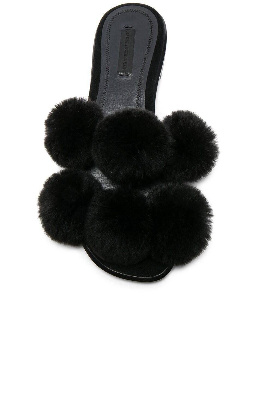 Image 4 of Alexander Wang Ava Rabbit Fur Sandals in Black