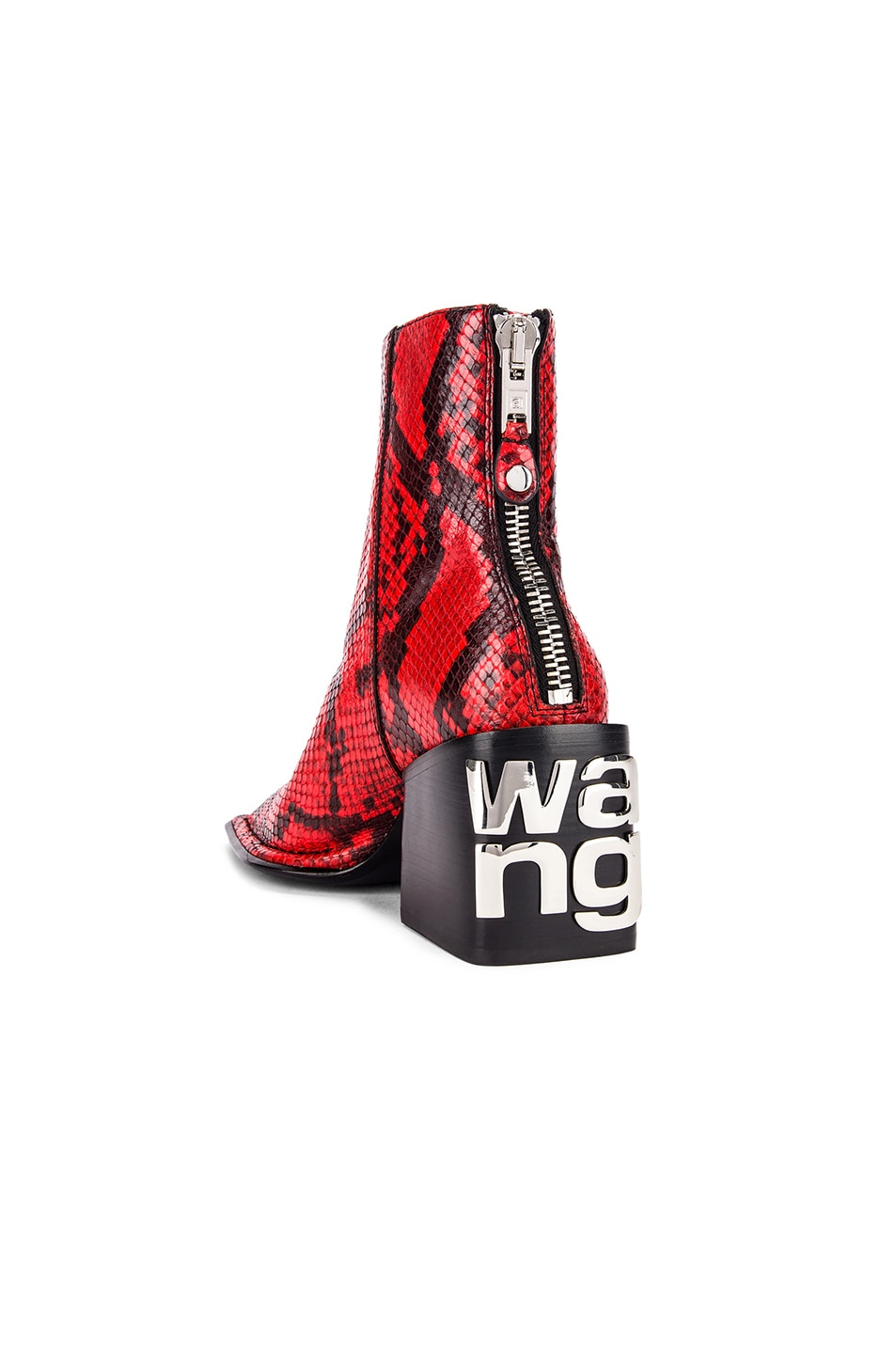Image 3 of Alexander Wang Parker Snake Print Boot in Red