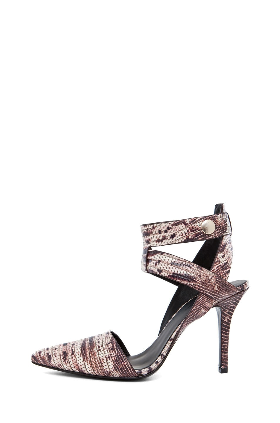 Image 1 of Alexander Wang Sonja Printed Ankle Strap Pump in Ox Blood