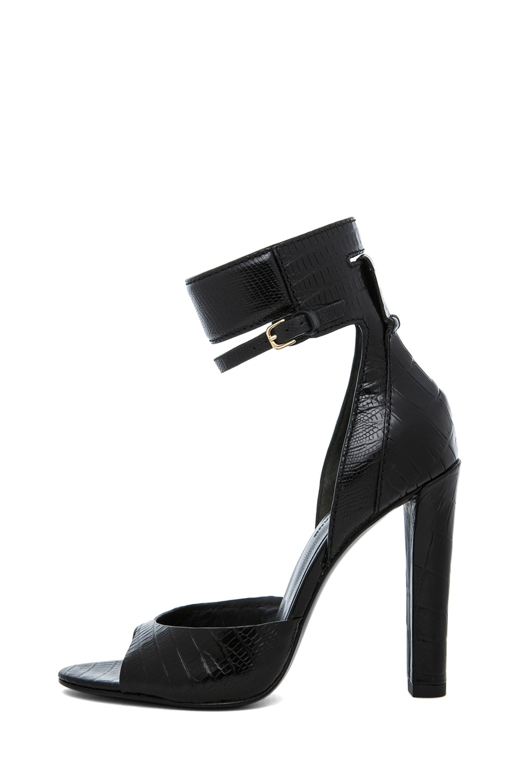 Image 1 of Alexander Wang Aminata Croc & Lizard Print Ankle Cuff Sandal in Black
